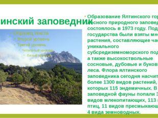 Ялтинский заповедник Образование Ялтинского горно-лесного природного заповедн