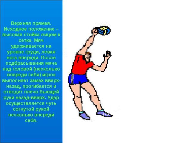 Верхняя прямая. Исходное положение – высокая стойка лицом к сетке. Мяч удерж...