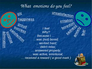 What emotions do you feel? satisfaction happiness joy success admiration prou