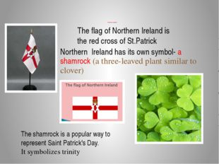 Northern Ireland The flag of Northern Ireland is the red cross of St.Patrick