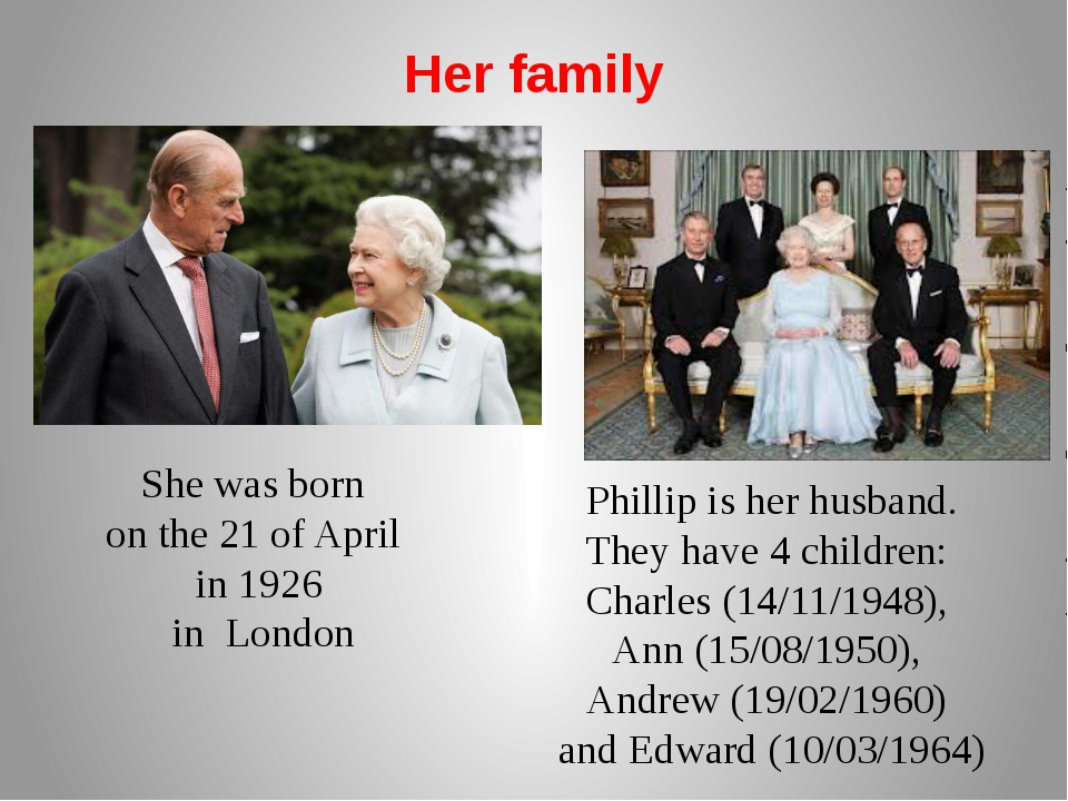 Her family Phillip is her husband. They have 4 children: Charles (14/11/1948)...