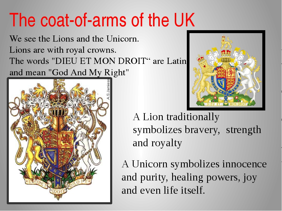 The coat-of-arms of the UK We see the Lions and the Unicorn. Lions are with r...