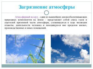 Загрязнение атмосферы Атмосферный воздух - один из важнейших жизнеобеспечиваю