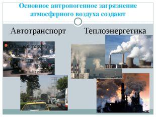 Основное антропогенное загрязнение атмосферного воздуха создают Автотранспорт