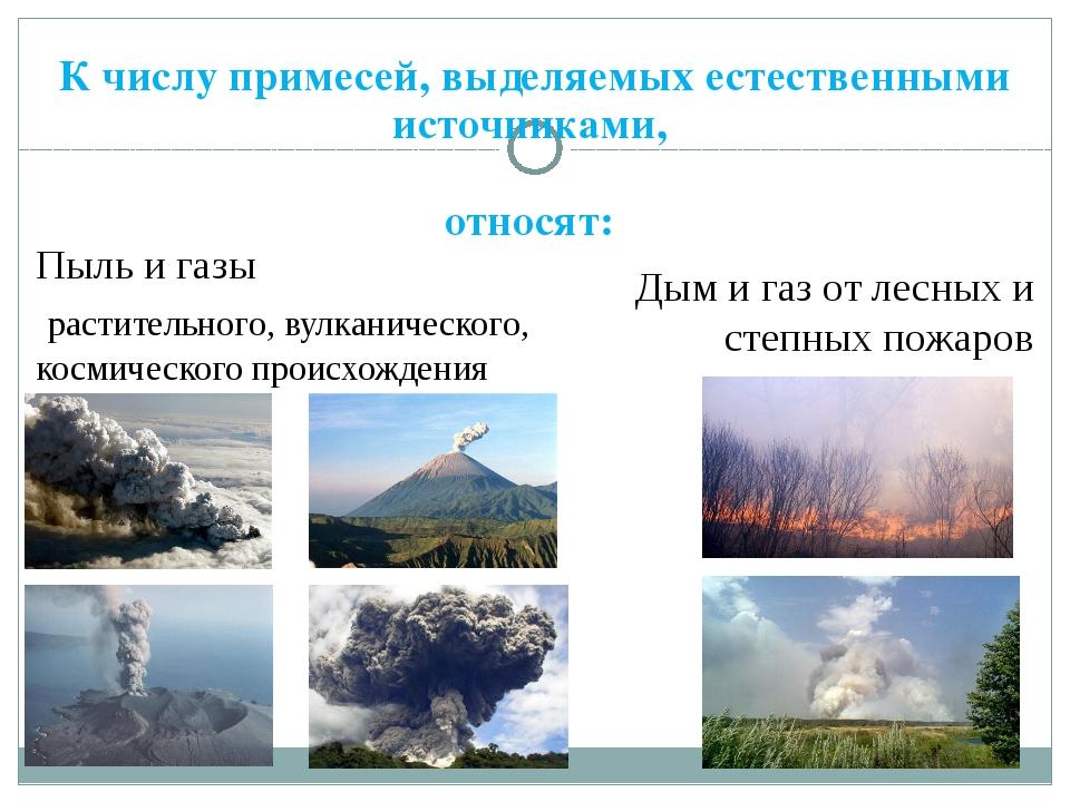 К числу примесей, выделяемых естественными источниками, относят: Пыль и газы...