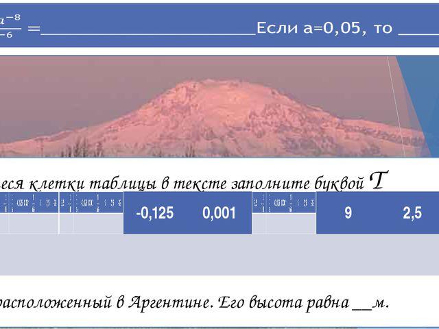 Оставшиеся клетки таблицы в тексте заполните буквой Т вулкан, расположенный в...