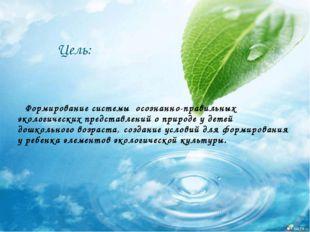 Цель: Формирование системы осознанно-правильных экологических представлений