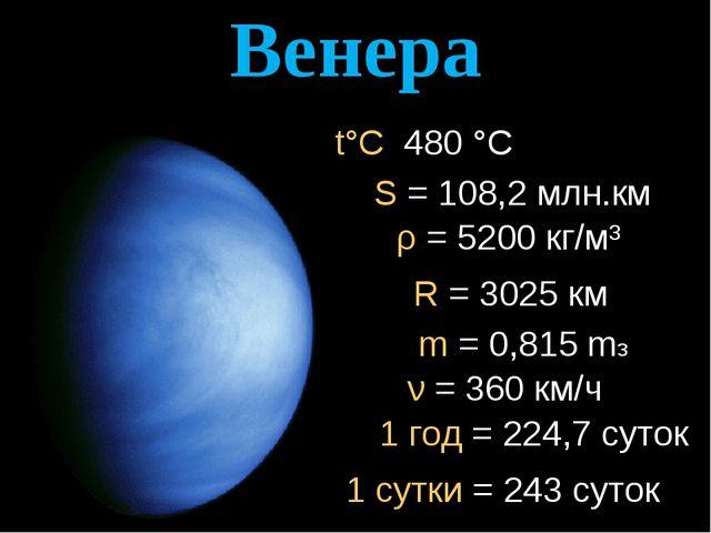 Венера ρ = 5200 кг/м³ R = 3025 км t°C 480 °C S = 108,2 млн.км 1 год = 224,7 с...