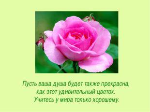 Пусть ваша душа будет также прекрасна, как этот удивительный цветок. Учитесь