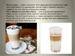 Латте (Latte)—кофе с молоком. Этот французский фирменный кофе приготавливае