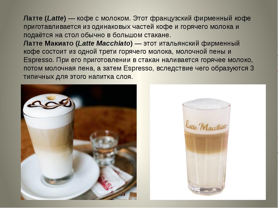 Латте (Latte)—кофе с молоком. Этот французский фирменный кофе приготавливае...