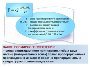 ЗАКОН ВСЕМИРНОГО ТЯГОТЕНИЯ – сила гравитационного притяжения любых двух части