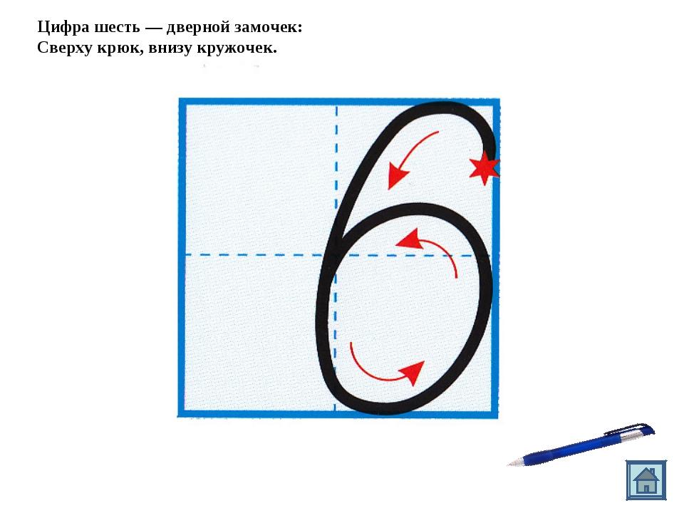 Цифра шесть — дверной замочек: Сверху крюк, внизу кружочек.