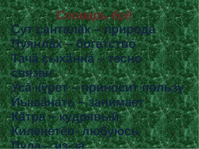 Çут çанталăк – природа Пуянлăх – богатство Тачă çыхăннă – тесно связан Усă кÿ...