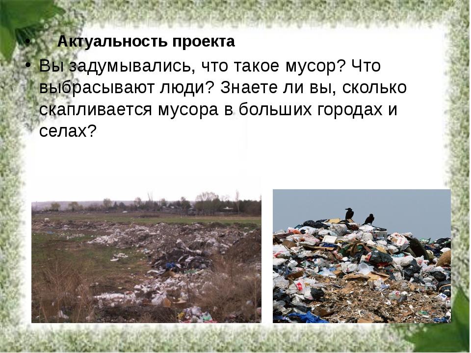 Актуальность проекта Вы задумывались, что такое мусор? Что выбрасывают люд...