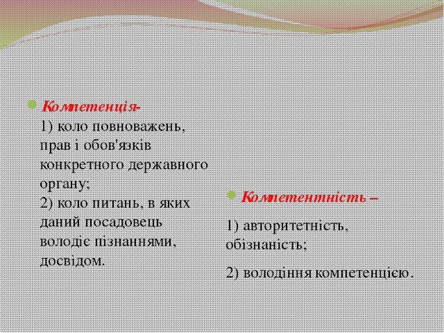 Компетенція- 1) коло повноважень, прав і обов'язків конкретного державного о...