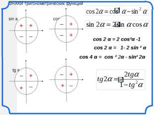 cos 2 α = 2 cos²α -1 cos 2 α = 1- 2 sin ² α cos 4 α = cos ² 2α - sin² 2α ЗНАК