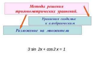 Методы решения тригонометрических уравнений. Разложение на множители Уравнени