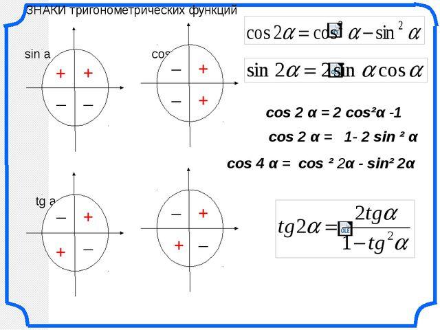 cos 2 α = 2 cos²α -1 cos 2 α = 1- 2 sin ² α cos 4 α = cos ² 2α - sin² 2α ЗНАК...