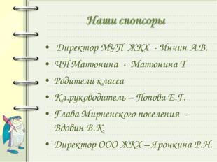 Директор МУП ЖКХ - Инчин А.В. ЧП Матюнина - Матюнина Т Родители класса Кл.ру