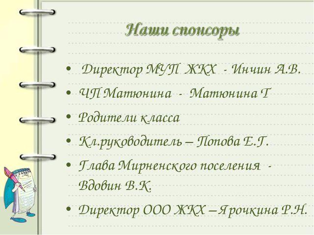 Директор МУП ЖКХ - Инчин А.В. ЧП Матюнина - Матюнина Т Родители класса Кл.ру...