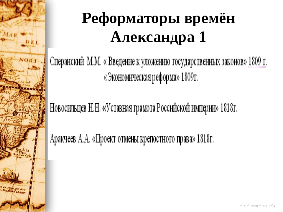 Реформаторы времён Александра 1 ProPowerPoint.Ru