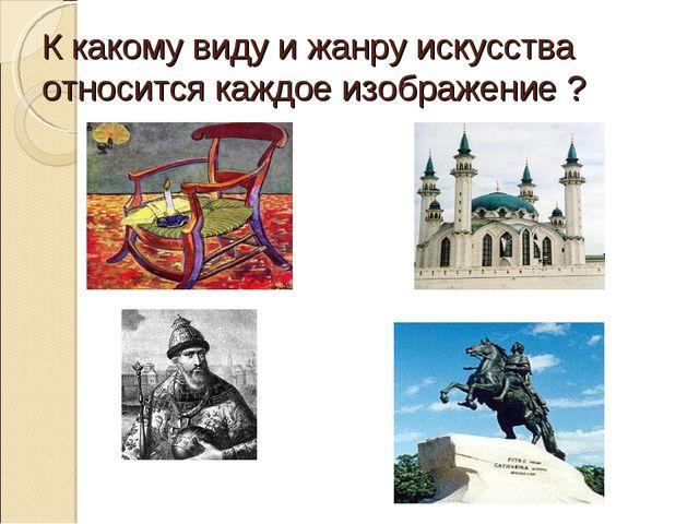К какому виду и жанру искусства относится каждое изображение ?