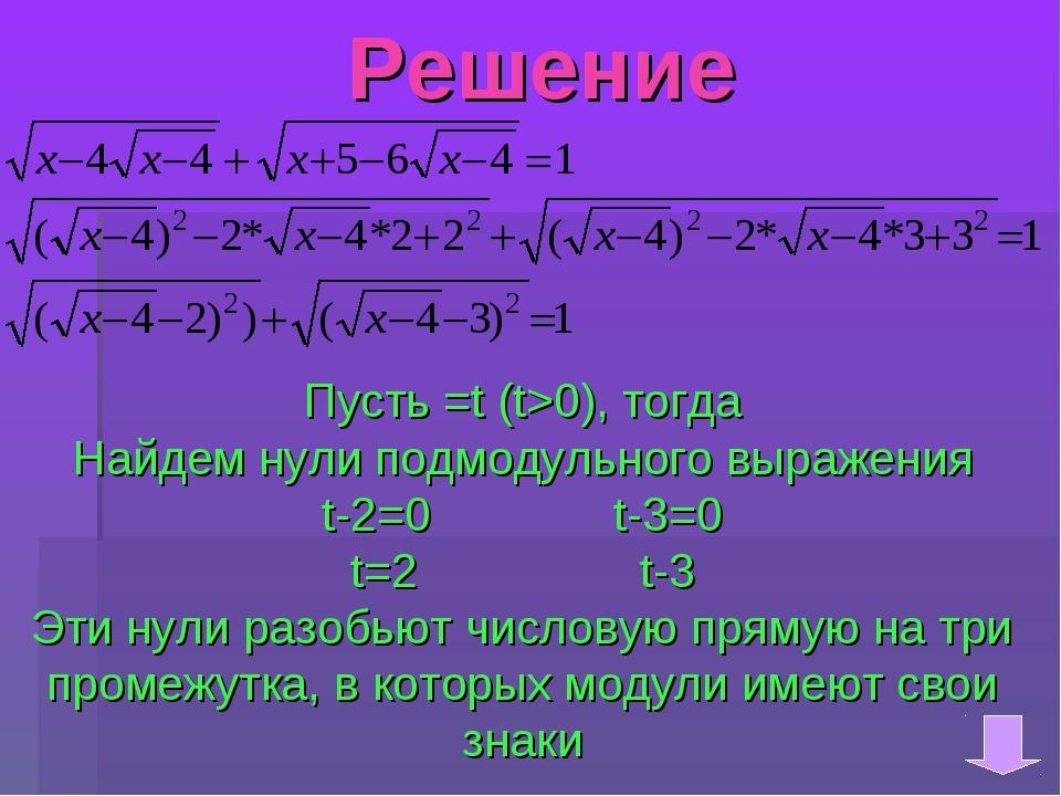 Решение Пусть =t (t>0), тогда Найдем нули подмодульного выражения t-2=0 t-3=0...