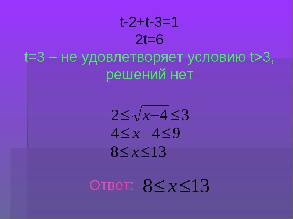 t-2+t-3=1 2t=6 t=3 – не удовлетворяет условию t>3, решений нет Ответ: