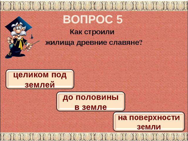 ВОПРОС 5 Как строили жилища древние славяне?