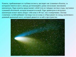 Кометы, прибывающие из глубины космоса, выглядят как туманные объекты, за кот
