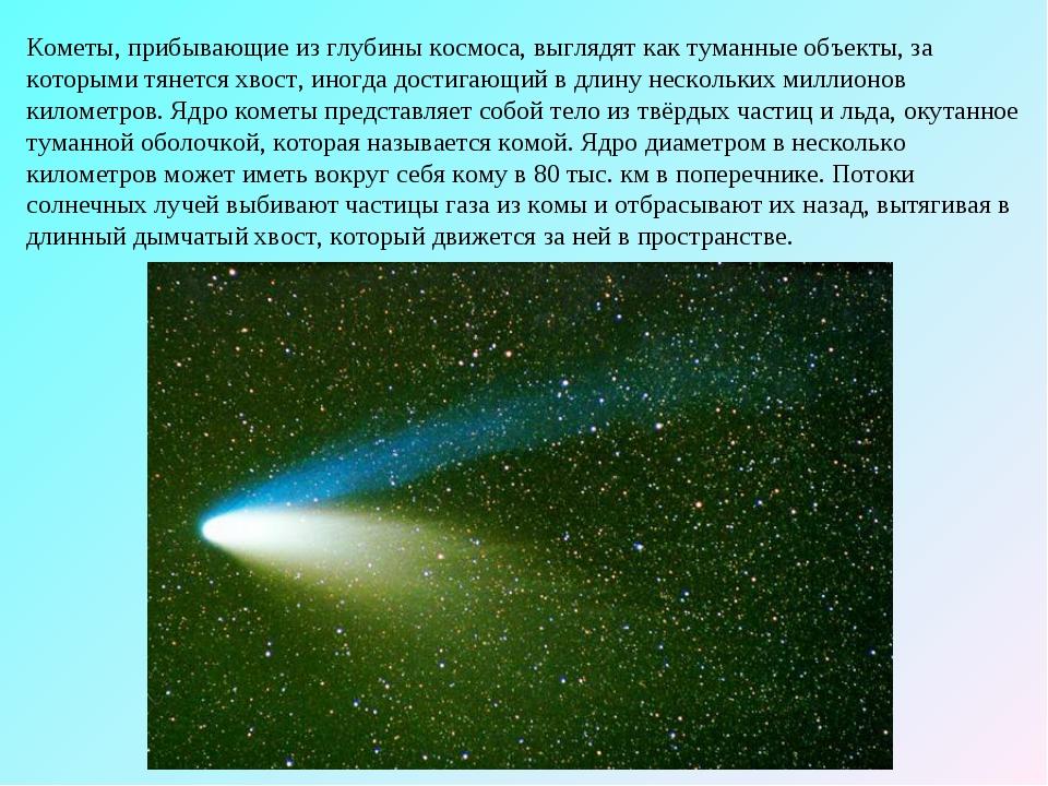 Кометы, прибывающие из глубины космоса, выглядят как туманные объекты, за кот...