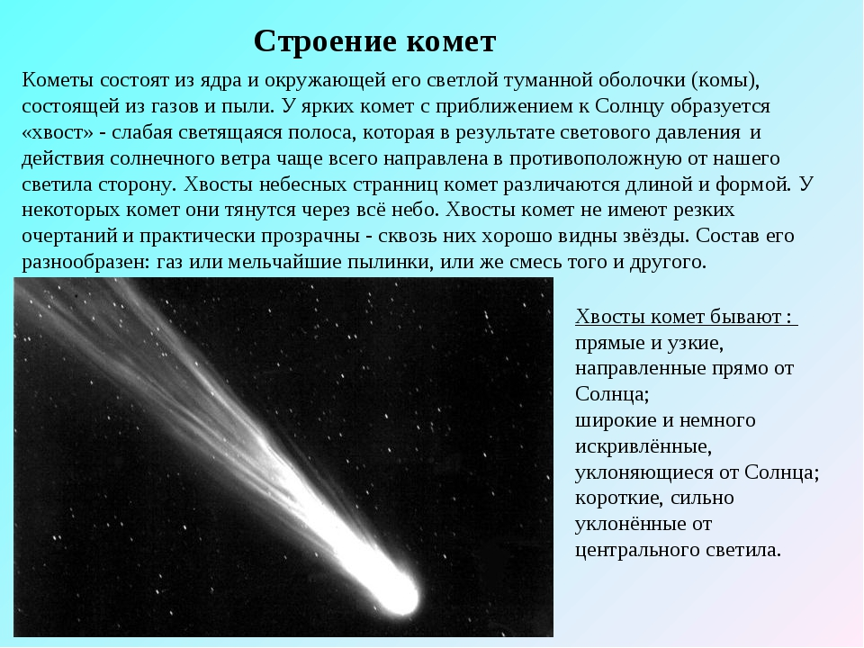 Строение комет Кометы состоят из ядраи окружающей его светлой туманной оболо...