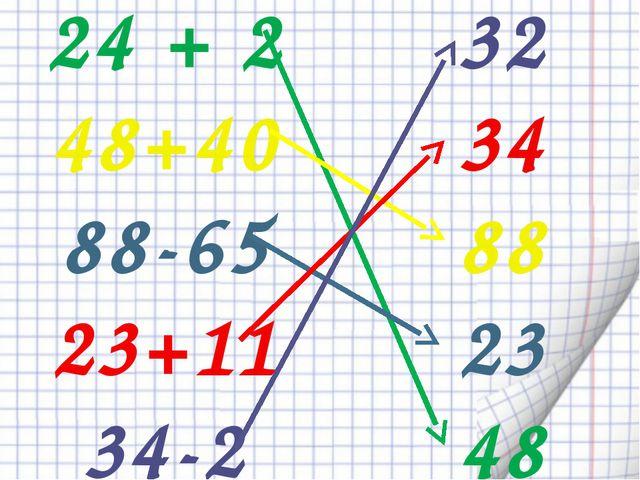 24 + 2 48+40 88-65 23+11 34-2 32 34 88 23 48
