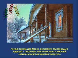 Хозяин терема Дед Мороз, волшебник белобородый, кудесник – сказочник, власте
