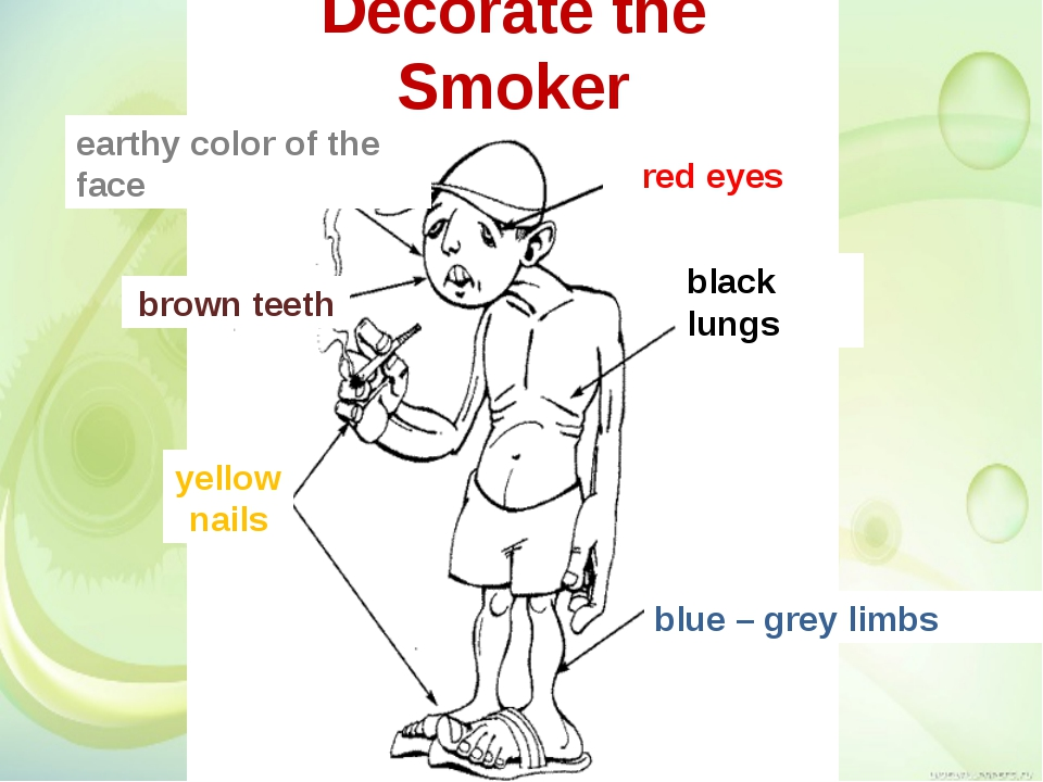 Decorate the Smoker red eyes brown teeth yellow nails black lungs earthy colo...