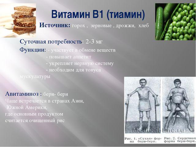 Витамин В1 (тиамин) Источник: горох , зерновые , дрожжи, хлеб Суточная потреб...