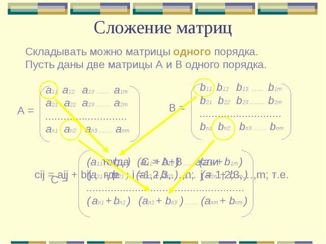 Сложение матриц Складывать можно матрицы одного порядка. Пусть даны две матри...