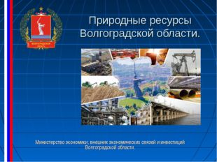 Природные ресурсы Волгоградской области. Министерство экономики, внешних экон