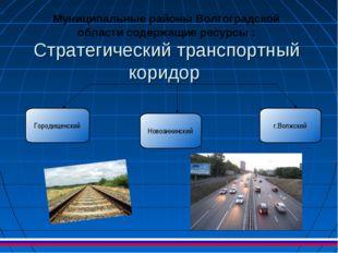 Стратегический транспортный коридор Муниципальные районы Волгоградской област