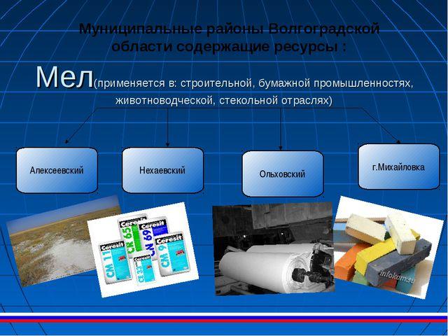 Мел(применяется в: строительной, бумажной промышленностях, животноводческой,...