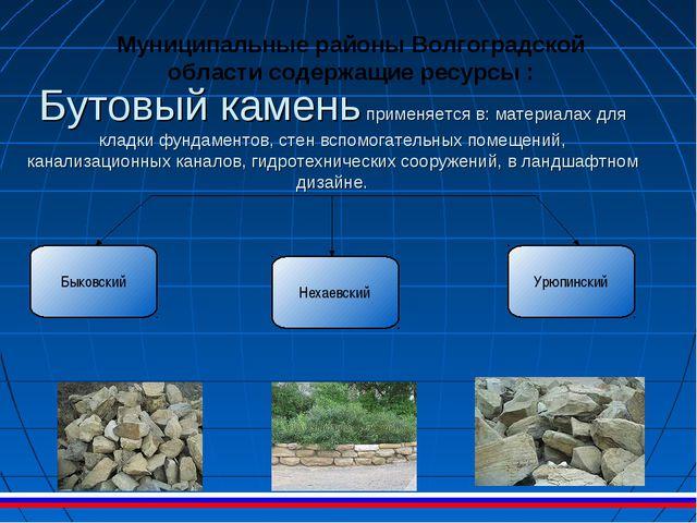 Бутовый камень применяется в: материалах для кладки фундаментов, стен вспомог...
