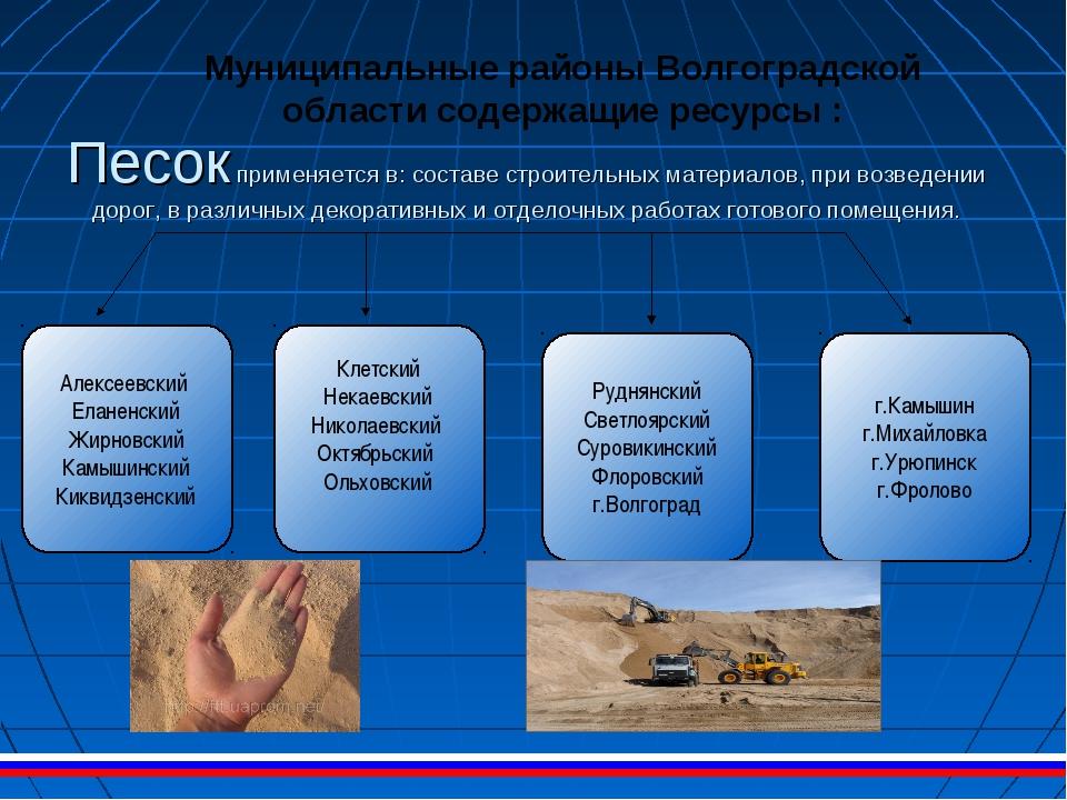 Песок применяется в: составе строительных материалов, при возведении дорог, в...