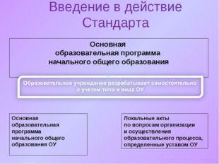 Введение в действие Стандарта Основная образовательная программа начального о