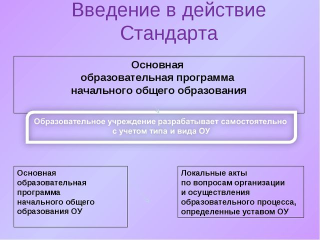 Введение в действие Стандарта Основная образовательная программа начального о...