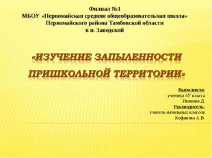 Филиал №1 МБОУ «Первомайская средняя общеобразовательная школа» Первомайского