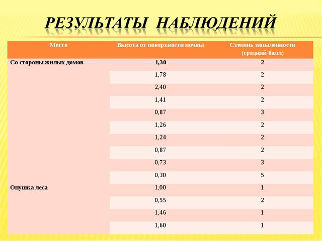 МестоВысота от поверхности почвыСтепень запыленности (средний балл) Со стор...