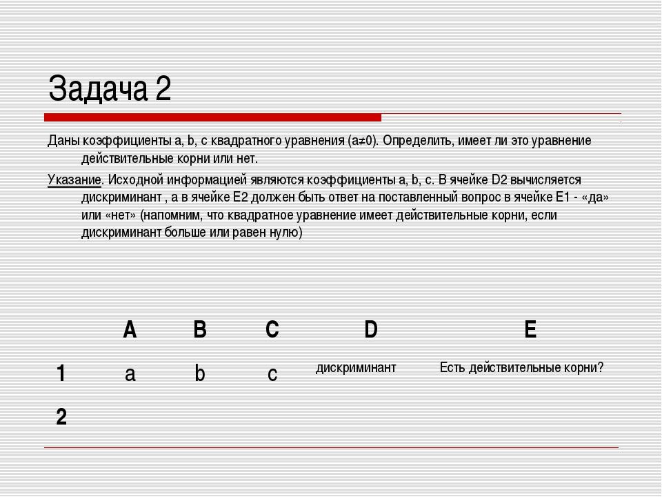 Задача 2 Даны коэффициенты a, b, c квадратного уравнения (а≠0). Определить, и...