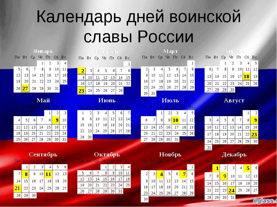 Календарь дней воинской славы России