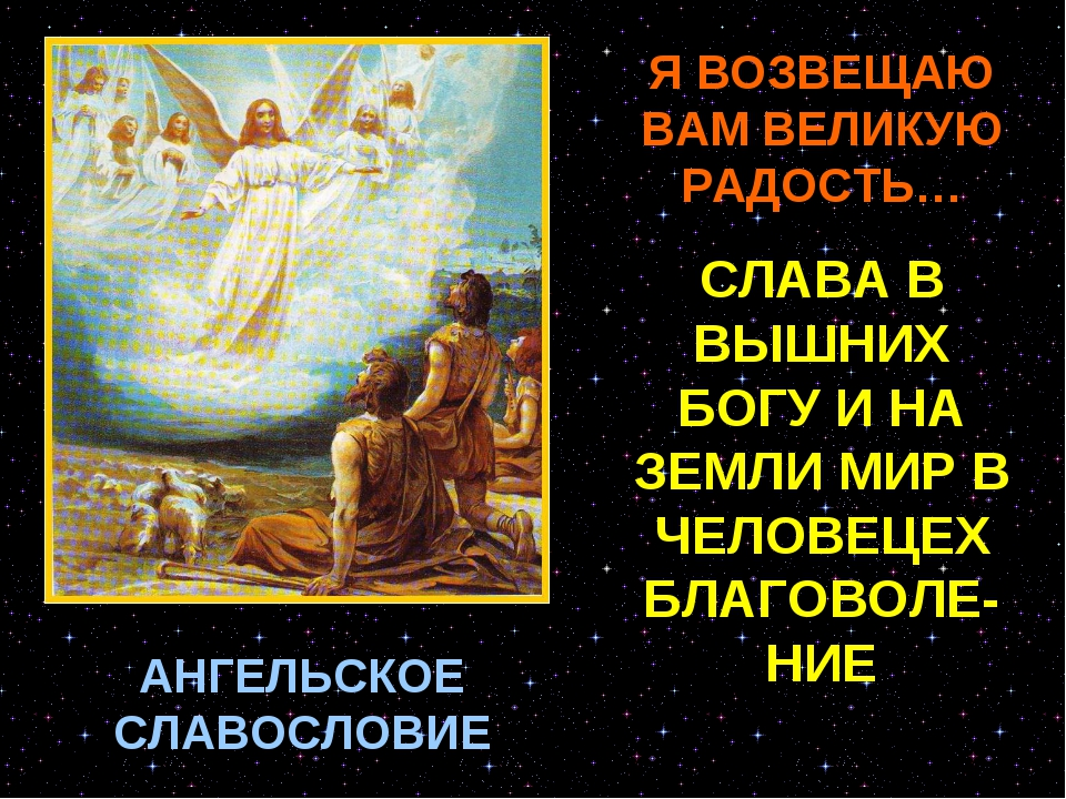 АНГЕЛЬСКОЕ СЛАВОСЛОВИЕ Я ВОЗВЕЩАЮ ВАМ ВЕЛИКУЮ РАДОСТЬ… СЛАВА В ВЫШНИХ БОГУ И...